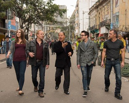Ava, Dean, Gustavo (the Promoter in Colombia), Cary and Jeff make their way through the streets of Bogota, Colombia.
